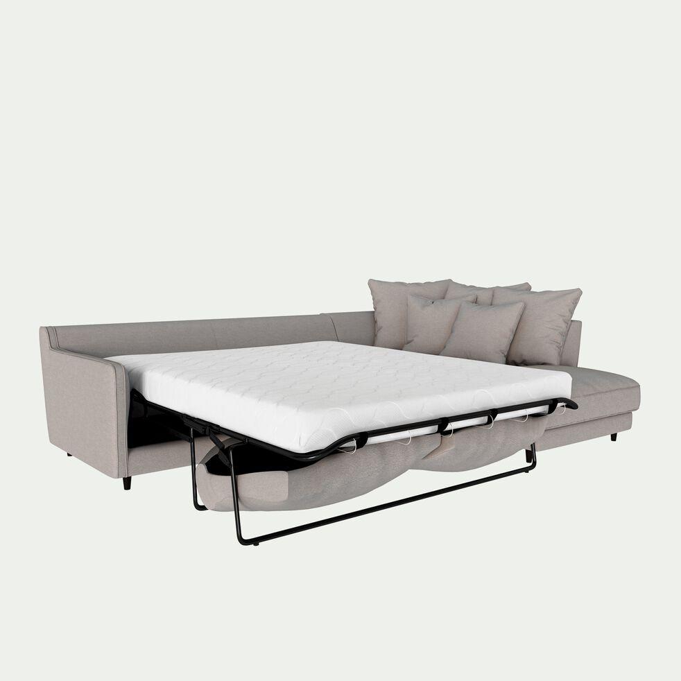 Canapé d'angle droit convertible 5 places en tissu joint - gris borie-LENITA