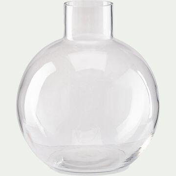 Vase boule fait-main en verre - transparent D21,5xH25cm-PLUMBAGO