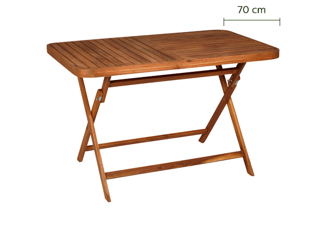 Table de jardin pliante en acacia huilé (2 à 4 places)-Youk