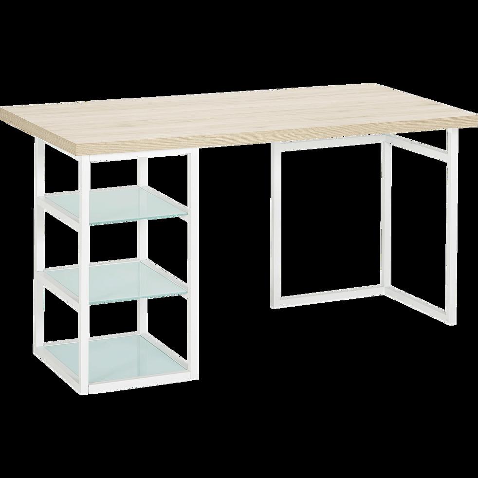 tr teau caisson de bureau blanc avec 3 tablettes en. Black Bedroom Furniture Sets. Home Design Ideas