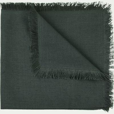 Serviette de table en lin et coton vert cèdre 41x41cm-CASTILLON