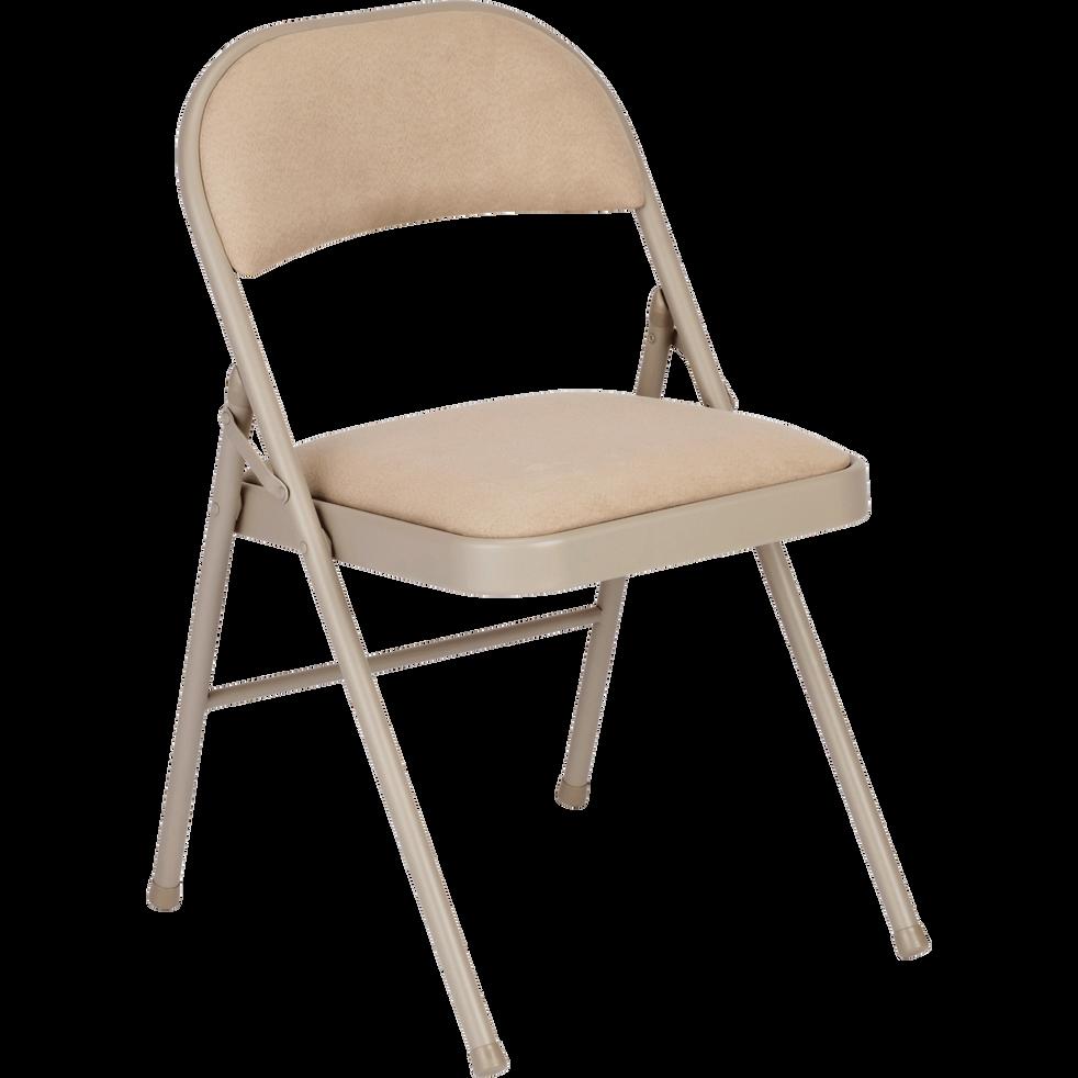 Chaise pliante en métal et tissu beige roucas-CASTA