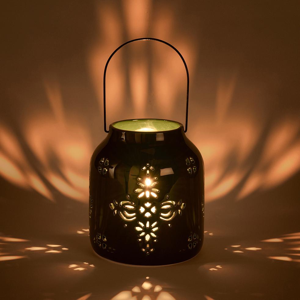 Lanterne ajourée en céramique - vert D16,5xH19cm-MATHIS