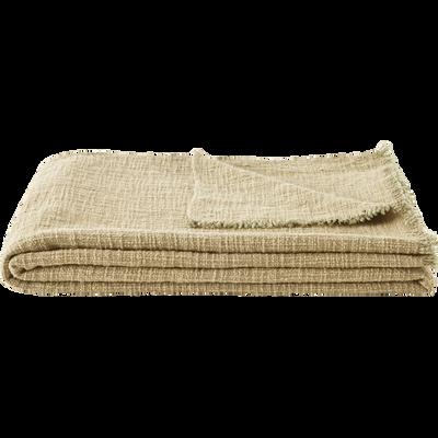 Plaid en coton vert 130x170cm-CALANQUES