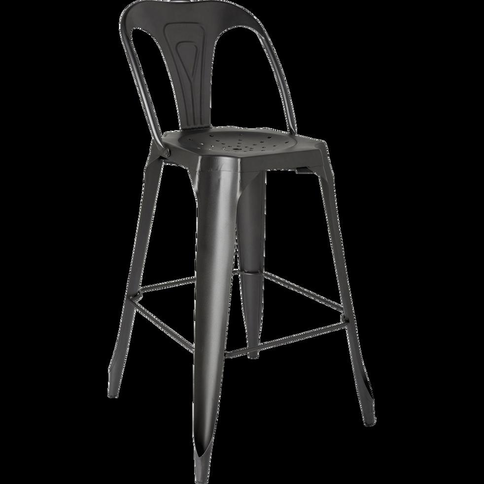 Chaise de bar vintage en métal gris anthracite - H73cm-INDUS