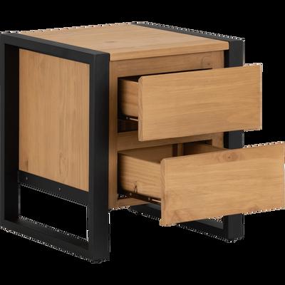 Table de chevet en pin massif 2 tiroirs-ENDOUME