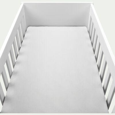 Drap housse bébé en coton bio 60x120+B15cm - blanc-Calanques