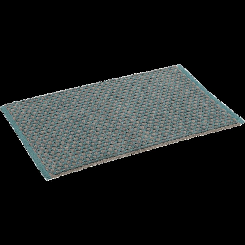 Tapis de bain 50x80cm gris et vert tissé main-LENA