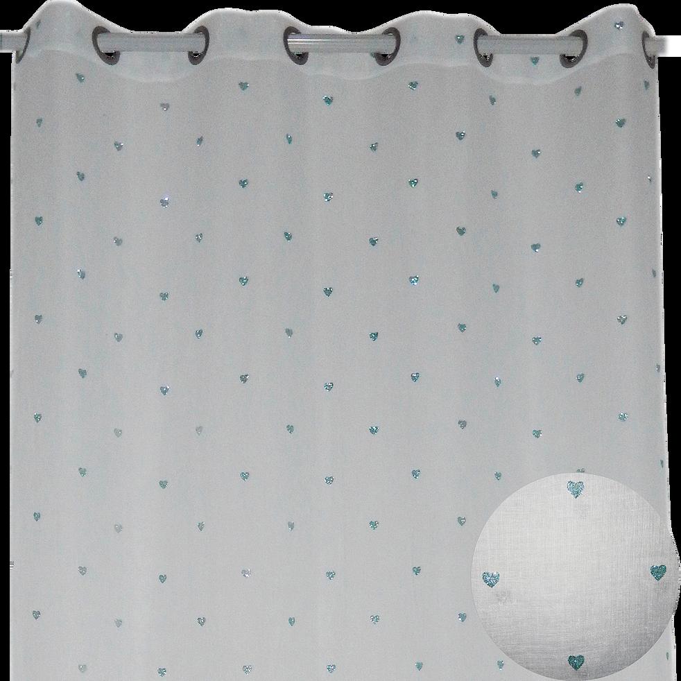 Voilage à oeillets 140x240cm Bleu motifs cœurs pailletés pour enfant-LILI