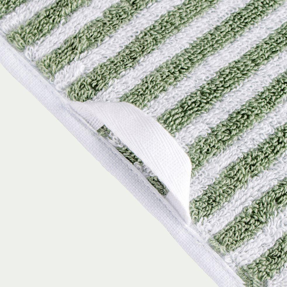 Serviette de toilette rayée en coton - vert olivier 50x100cm-Gary