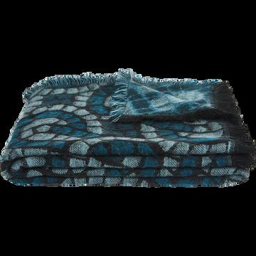 Plaid tissé à motifs bleu 130x170cm-MOSAÏQUE