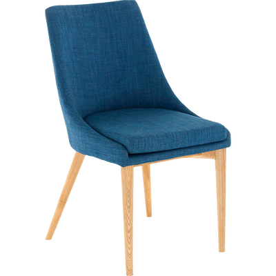 Chaise En Tissu Bleu Pietement Bois ABBY