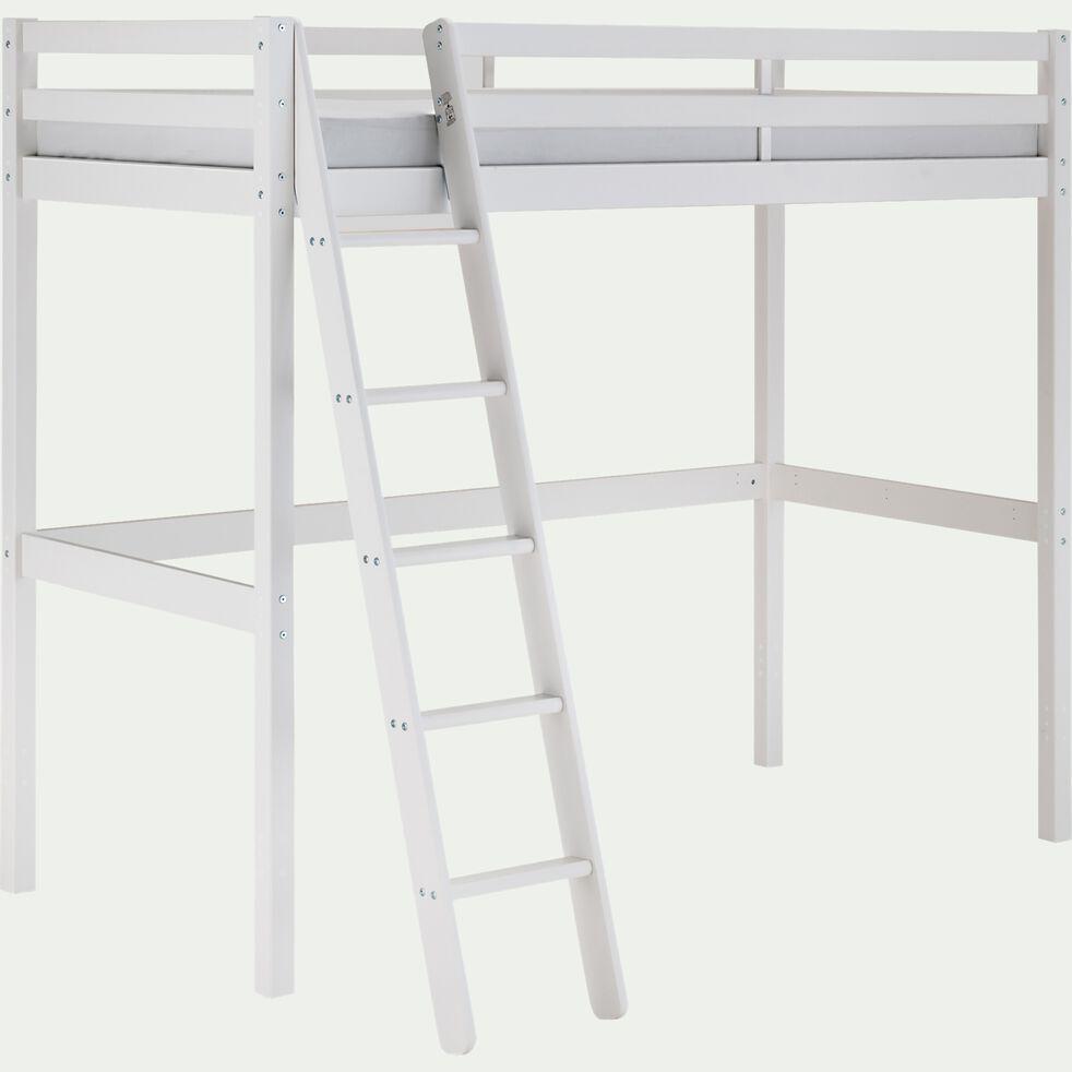 Lit enfant haut 1 place en pin 90x200cm - blanc-DANIS