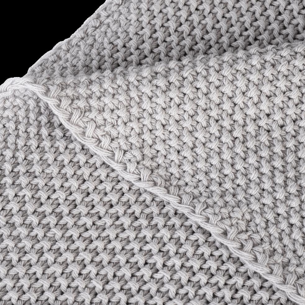 Plaid tricoté en coton gris borie 180x220cm-VERDON