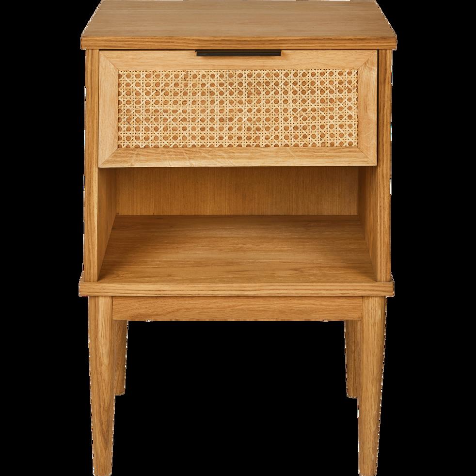 Table de chevet en chêne plaqué et rotin-ARTHURA