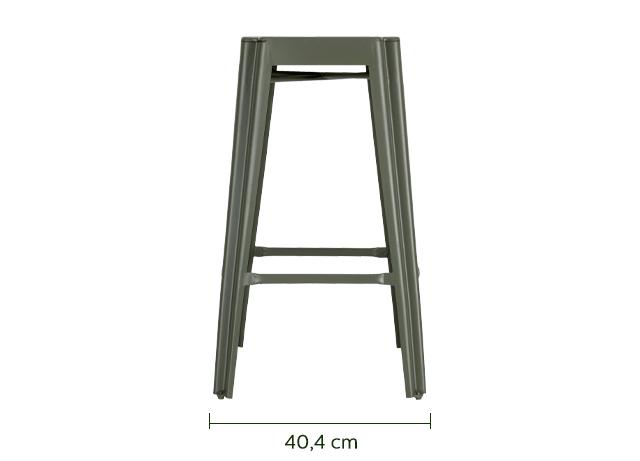 Tabouret de bar en métal vert cèdre - H69 cm-TRIVIA