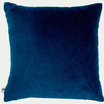 Coussin en velours bleu figuerolles 45x45cm-EDEN