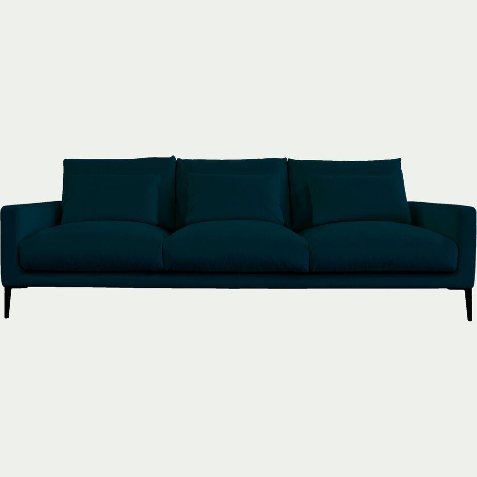 Canapé 5 places en velours - bleu figuerolles-SOZY