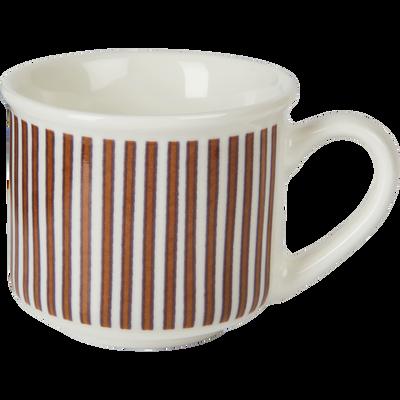Tasse en porcelaine rouge rayée 9cl-CAFI