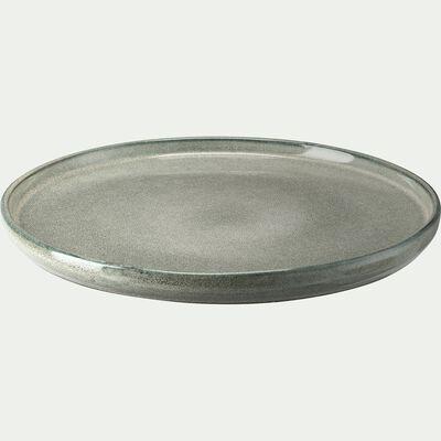 Assiette plate en grès émail réactif - vert olivier D27cm-PIETRA