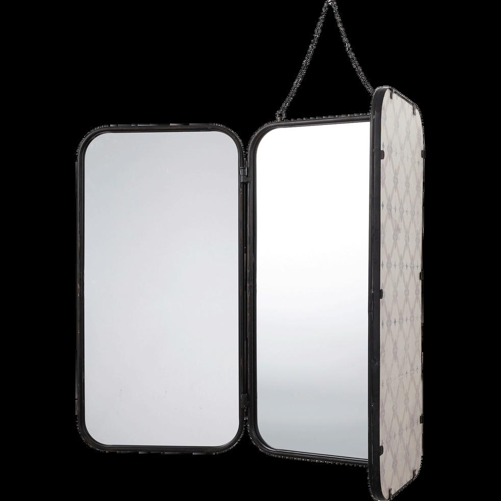 Miroir de barbier rectangulaire en métal noir 71x109.5cm - TODD ...