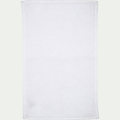 Tapis de bain en coton texturé blanc capelan-CALADE