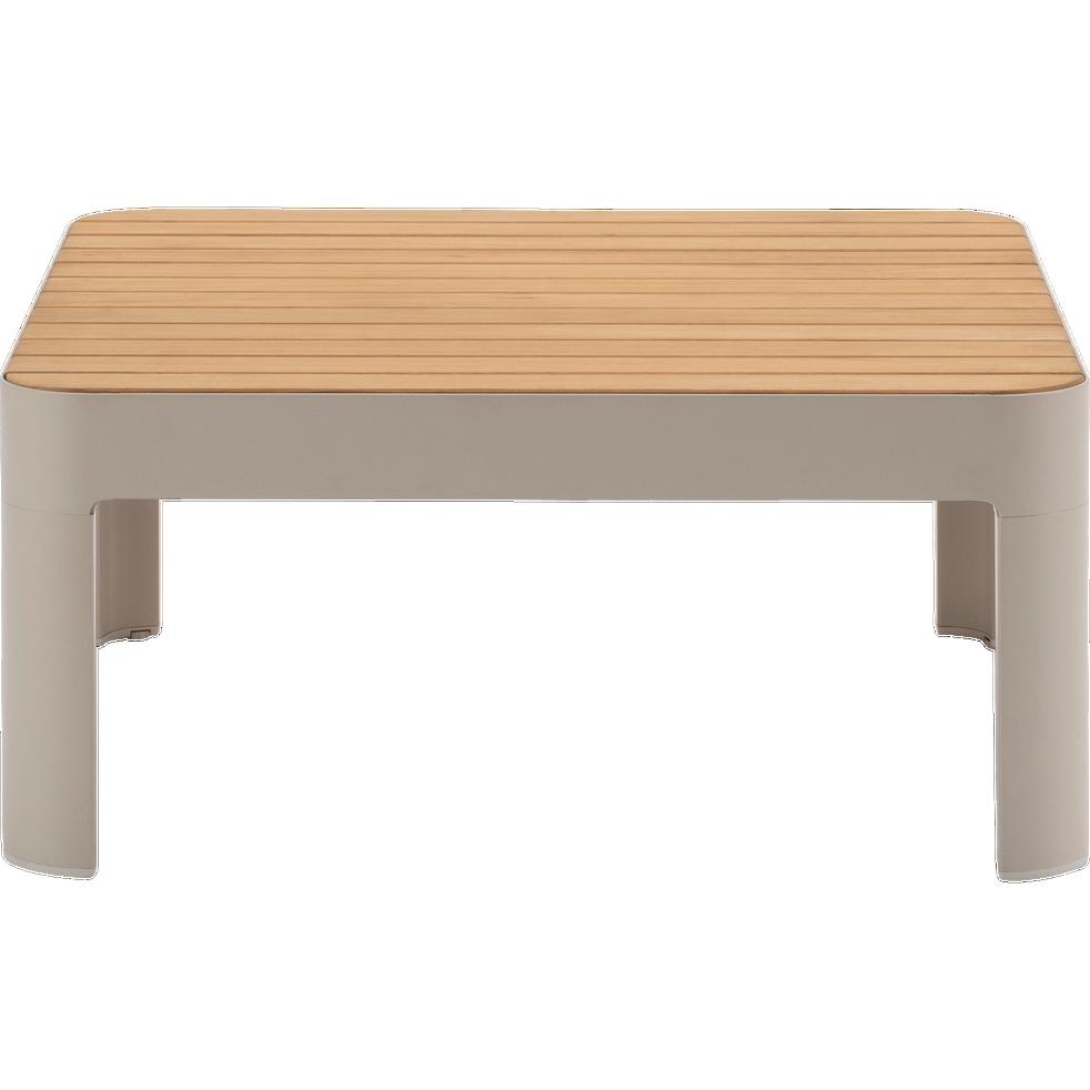 Portals - Table basse de jardin carrée en Teck FSC et aluminium