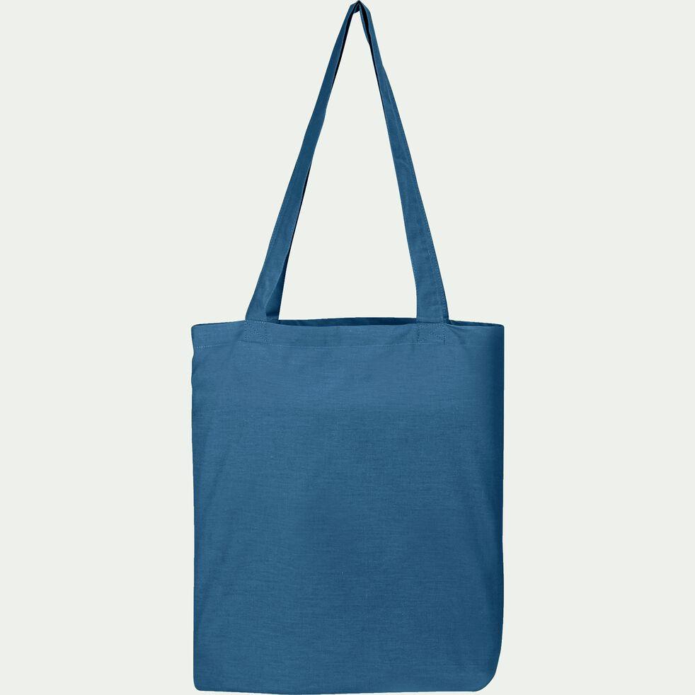 Housse de couette en coton - bleu figuerolles 140x200cm-CALANQUES