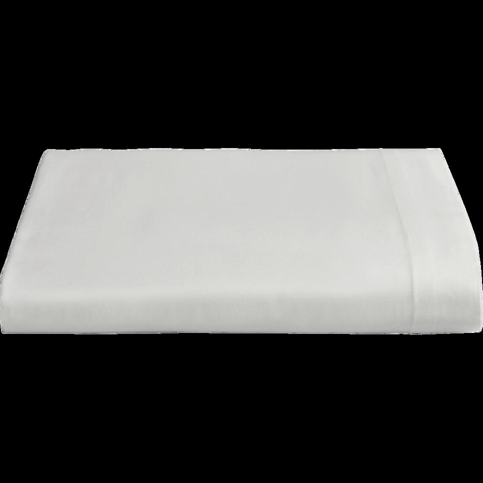 drap plat en percale de coton 270x300 cm blanc ventoux flore 270x300 cm la s lection blanc. Black Bedroom Furniture Sets. Home Design Ideas