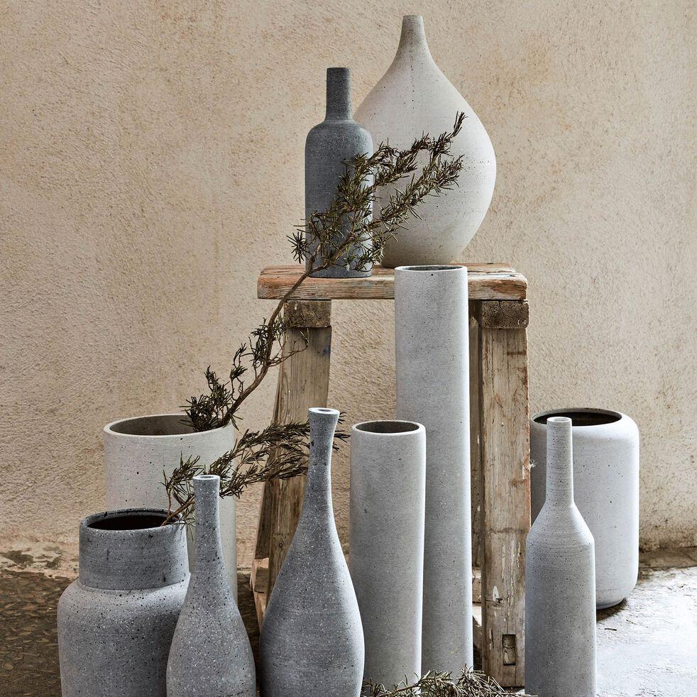 Vase bouteille effet béton en polystone - gris H24cm-CALCIS