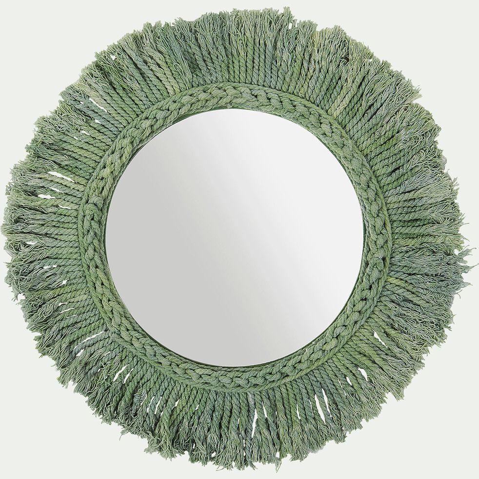 Miroir mural avec franges en coton - vert d35cm-Louis