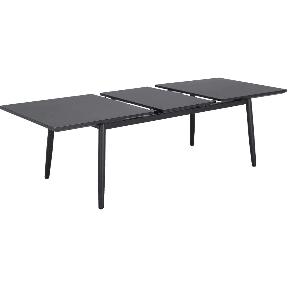 Table de jardin extensible en aluminium noir (6 à 10 places)-BONIFACIO