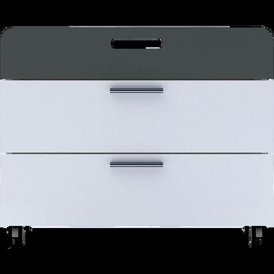 Commode 3 tiroirs à roulettes blanc en bois-FILOU