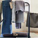 Tapis de bain surpiquage losanges en coton - gris borie 50x70cm-SADOU