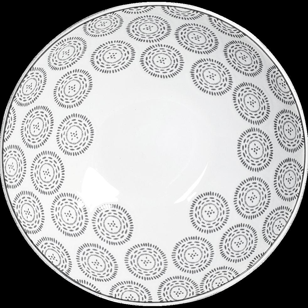 Assiette creuse en grès à motifs anthracite D19cm-Chloe