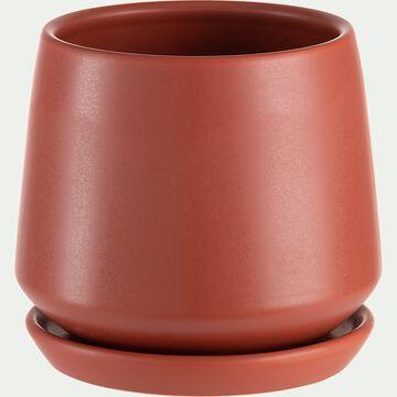 Cache-pot avec soucoupe en céramique - rouge ricin H14,5cm-JUAN