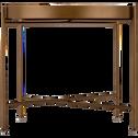 Table basse en acier dorée avec plateau en verre noir-BARI