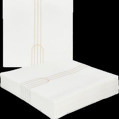 Lot de 20 serviettes intissé blanc à motifs 40x40cm-SIGNATURE