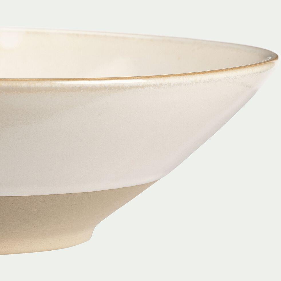 Assiette creuse en grès blanc D25cm-ESQUIROU
