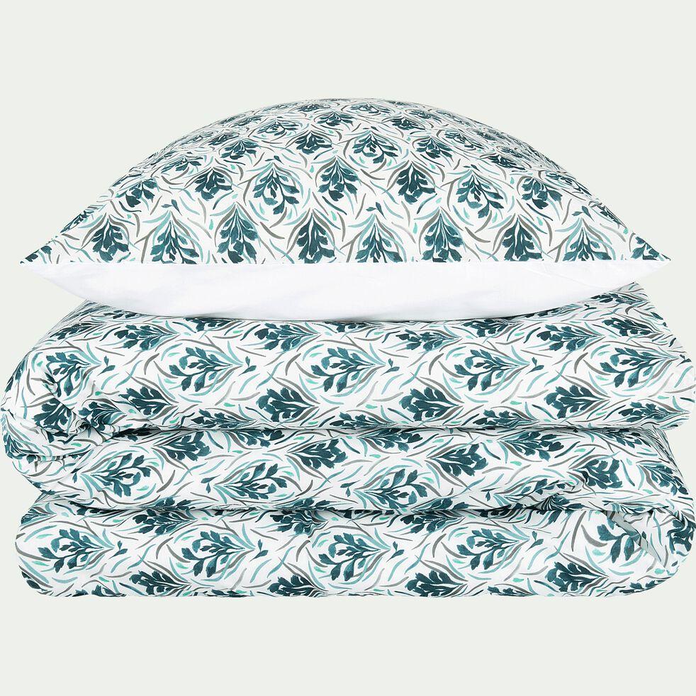 Housse de couette et 2 taies d'oreiller en coton - bleu 240x220cm-AMPHORES