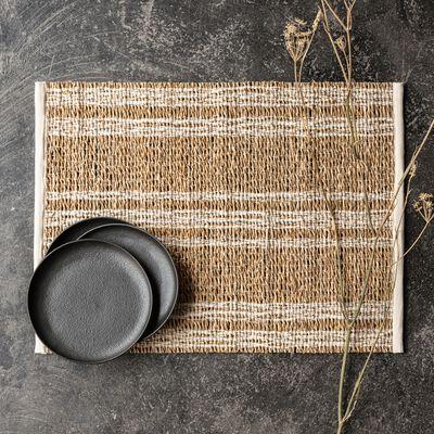 Set de table en paille et coton - blanc écru 33x48cm-DOUMA