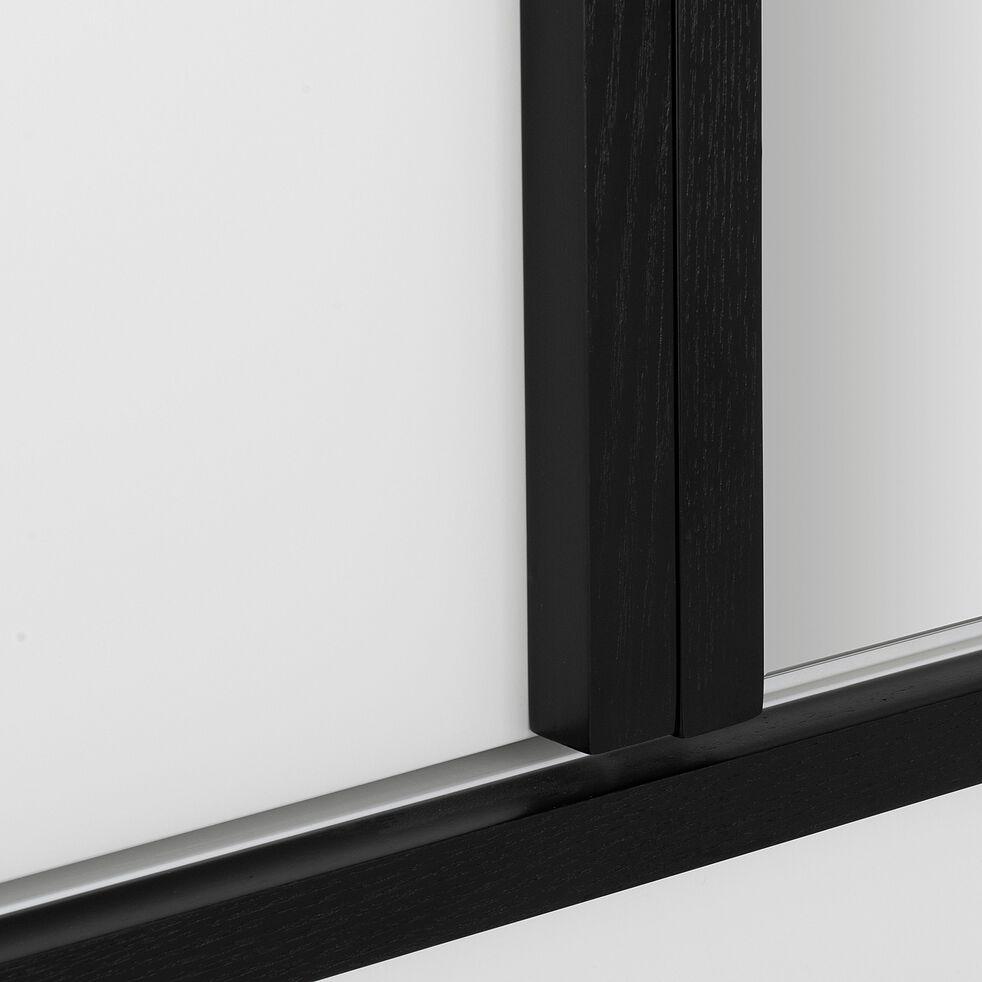 Armoire 3 portes et 2 tiroirs avec miroir blanc H200cm-GAILLARD