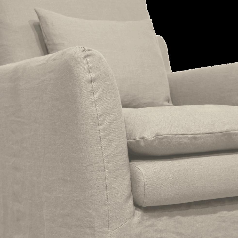 Fauteuil jupe longue en lin gris borie-FITOU