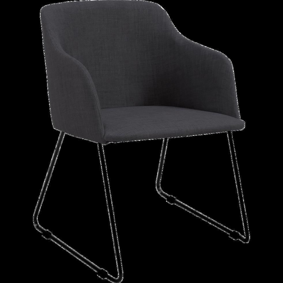 Chaise en tissu gris avec accoudoirs-CELESTE