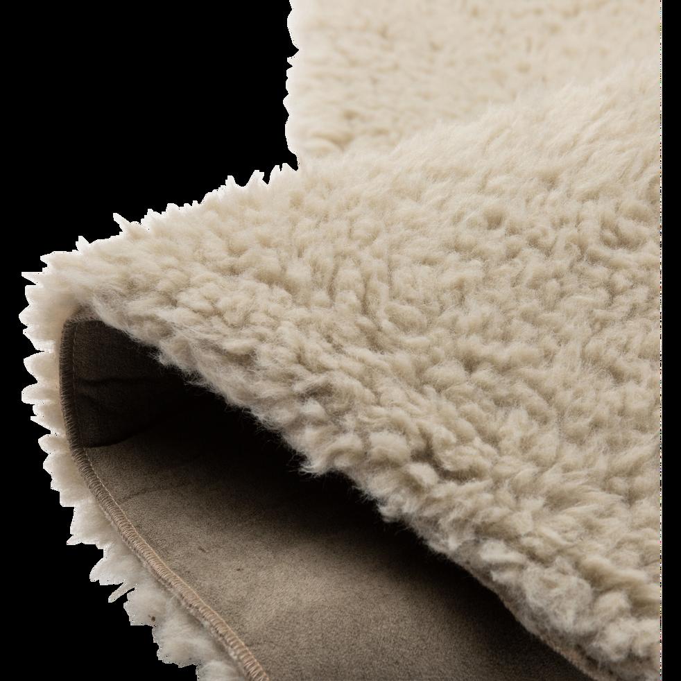 tapis sherpa rond uni 100x133cm vert olivier aurore. Black Bedroom Furniture Sets. Home Design Ideas