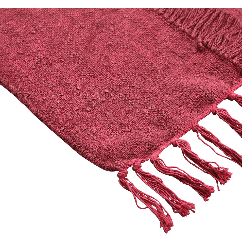 Tapis en laine et coton à franges Rouge 150x200 cm-HAYAA