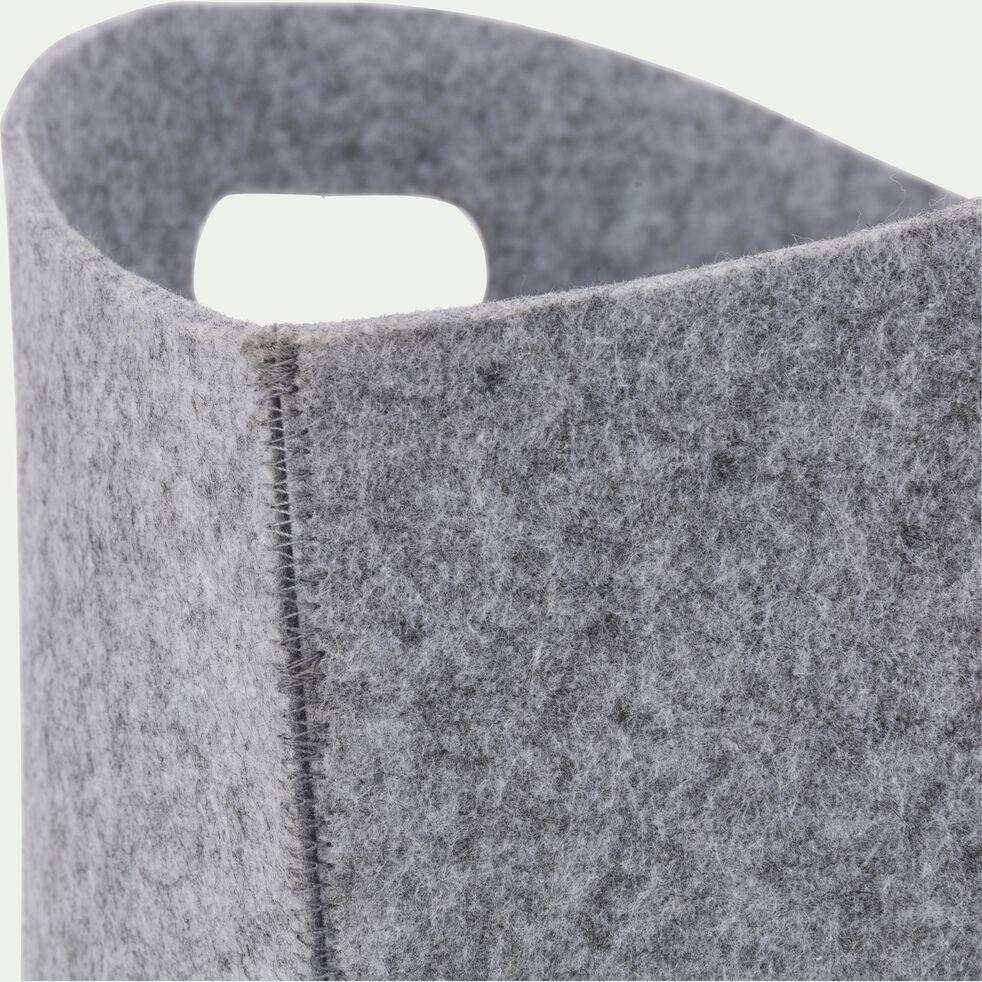 Lot de 2 portes revues gris en feutrine L45xl38xH29cm-RASTEL