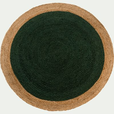 Tapis rond en jute - vert cèdre D120cm-NAÏA