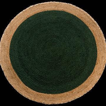 Tapis rond en jute vert cèdre D120cm-NAÏA