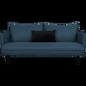 Canapé 3 places fixe en tissu bleu figuerolles-SAOU